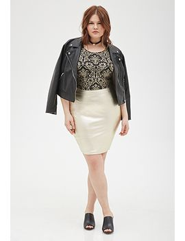metallic-pencil-skirt by forever-21