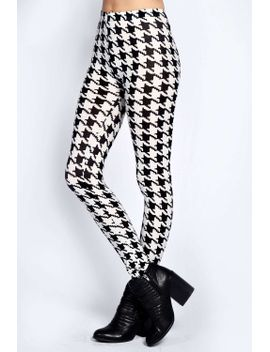 tia-dogtooth-print-leggings by boohoo
