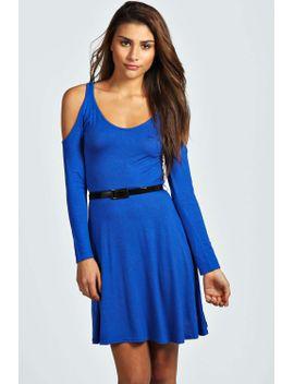 bella-open-shoulder-skater-dress by boohoo