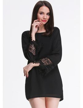 black-long-sleeve-floral-crochet-loose-dress by sheinside