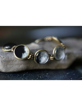 moon-bracelet---luna,-full-moon,-antique-bronze-or-silver---science-jewelry,-lunar-phases---as-seen-on-ifls,-original-moon-phase-bracelet by yugentribe