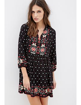 southwestern-printed-babydoll-dress by forever-21