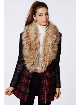 orla-faux-fur-leather-biker-sleeve-coat-red-check by missguided