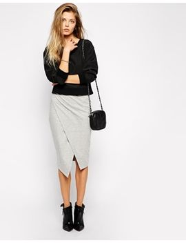 asos-pencil-skirt-in-sweat-with-asymmetric-hem by asos-collection