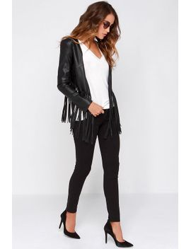 wild-thing-black-vegan-leather-fringe-jacket by lulus