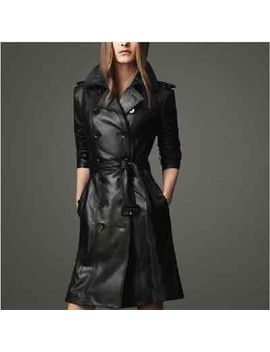 2014-new-fashion-womens-black-pu-leather-trench-parka-long-coat-jacket-with-belt by ebay-seller