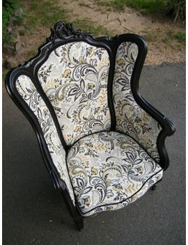 reserved-for-d-c-vintage-wingback-chair-upcycled-furniture-ebony-and-ivory by glorybdesign