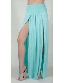 double-slit-long-maxi-skirt-high-banded-waist-full-length-two-split-plus-size-us by maxi-skirt