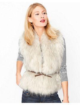 belted-faux-fur-vest by garnet-hill