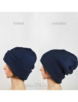 women-beanie-hat-scrunched-crochet-knit-skull-ski-winter-cap-slouchy-unisex-men by cc-(unknown)