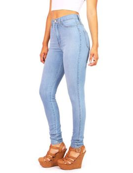 new-vintage-high-waist-fitted-womens-skinny-jeans-vibrant-light-denim-pants-usa by vibrant