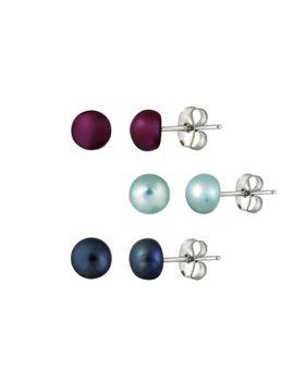 stainless-steel-5-6mm-freshwater-multi-color-pearl-stud-earrings,-set-of-3 by ebay-seller