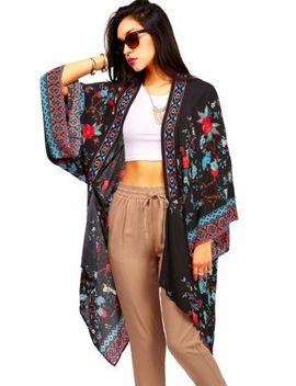 trendy-womens-floral-robe-long-casual-kimono-black-flowy-cardigan-s_m-&-m_l by ebay-seller