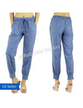 summer-women-fashion-cool-cotton-blend-drawstring-jogger-pants-bottoms-zip-hem by jogger