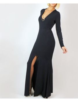 black-v-neck-sexy-long-sleeve-bodycon-mermaid-slit-front-gown-cocktail-dress-s by ebay-seller