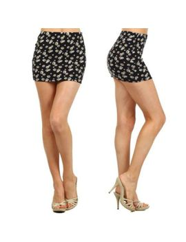 skirt-s-m-l-daisy-floral-mini-new-flower-stretch-casual-knit-micro-black-spring by jersey-glam