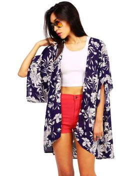 trendy-womens-floral-long-casual-kimono-flowy-cardigan-wild-flower-print by ebay-seller