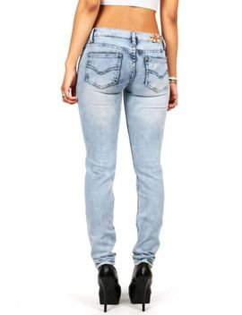 new-machine-womens-edgy-trendy-light-denim-low-rise-bleached-wash-straight-leg by machine