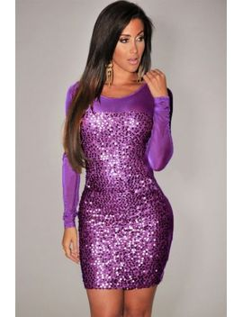 sexy-all-over-sequined-sheer-long-sleeve-bodycon-clubwear-evening-cocktail-dress by unbranded