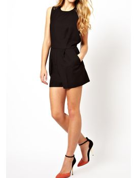 lace-sleeveless-romper---black by lookbook-store