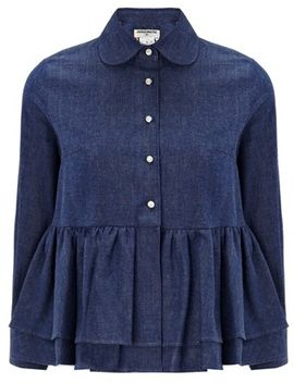 dark-blue-denim-ballerina-top by charles-anastase