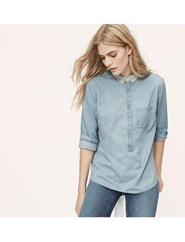 petite-knit-collar-softened-shirt by loft