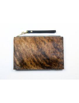 pony-hair-clutch-hair-on-hide-clutch-with-wrist-strap-cowhide-pouch by giftshopbrooklyn