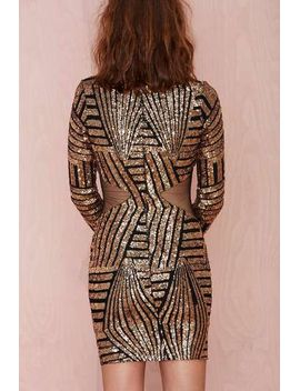 gold-long-sleeve-sequined-contrast-mesh-yoke-dress by sheinside