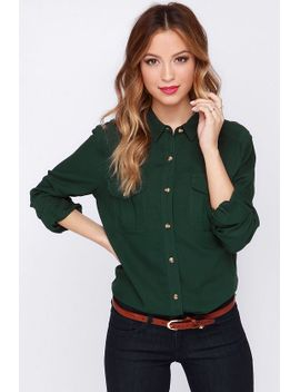 obey-cadet-forest-green-button-up-top by obey