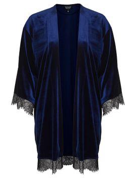 velvet-lace-trim-kimono by topshop