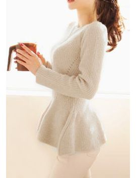 knitted-cream-peplum-top by lookbook-store