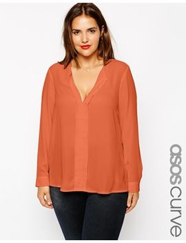 asos-curve-exclusive-blouse-with-pintuck-detail by asos
