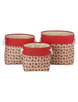 whitmor-nesting-burplap-decorative-bin---set-of-3---red-snowflake-(large) by whitmor