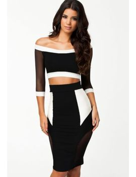 black-mesh-splice-pencil-skirt-top-set-midi-evening-cocktail-party-club-dress by unbranded