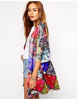 jaded-london-shiny-satin-kimono-in-festival-jewel-print-co-ord by jaded-london