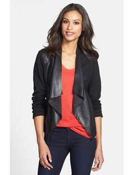 lincoln-faux-leather-drape-front-jacket by kut-from-the-kloth