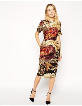 asos-wiggle-dress-in-texture-with-floral-print by asos-collection
