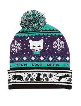lolz-kitty-fair-isle-pom-beanie by hot-topic