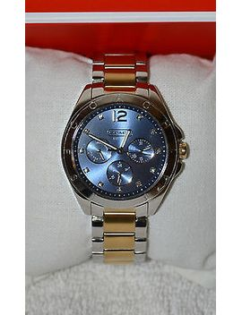 nwt-coach-tristen-two-tone-plated-blue-color-bracelet-womans-watch-14501889 by ebay-seller