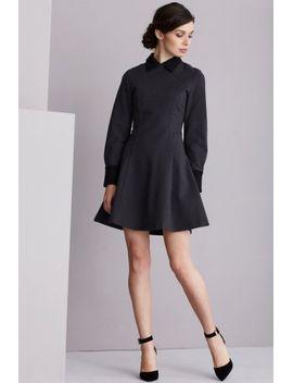 grey-&-black-structured-long-sleeve-collar-cuff-dress by lavish-alice