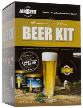 mr-beer-premium-gold-edition-2-gallon-homebrewing-craft-beer-making-kit-with-two-beer-refills,-convenient-2-gallon-fermenter,-bottles,-caps,-carbonation-drops,-sanitizer-and-brewing-instructions by mr-beer