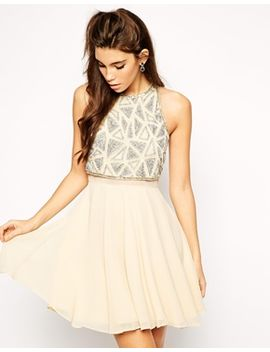 asos-all-over-embellished-crop-top-skater-dress by asos-collection