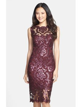 sequin-illusion-lace-dress-(regular-&-petite) by tadashi-shoji