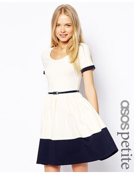 asos-petite-skater-dress-with-contrast-band by asos-petite