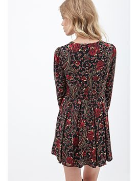 paisley-rose-print-dress by forever-21