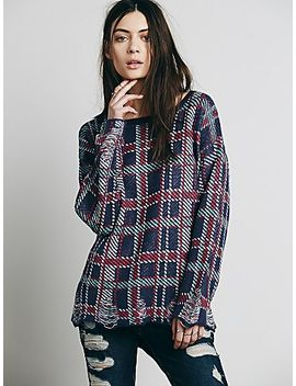 wildfox-distressed-plaid-pullover by free-people