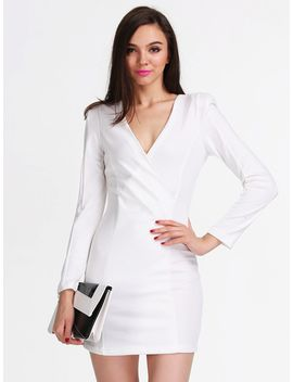 white-long-sleeve-v-neck-bodycon-dress by sheinside