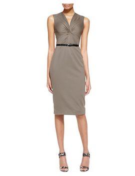 sleeveless-ponte-jersey-twist-sheath-dress-with-belt,-dark-olive by jason-wu