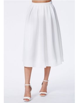 auberta-white-pleated-midi-skirt-in-scuba by missguided