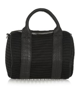 the-outnetrockie-leather-trimmed-mesh-tote by alexander-wang